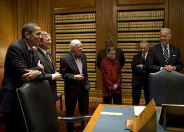 President-elect Barack Obama and Vice President-elect Joe Biden meet with Supreme Court Justices at the Supreme Court in Washington.