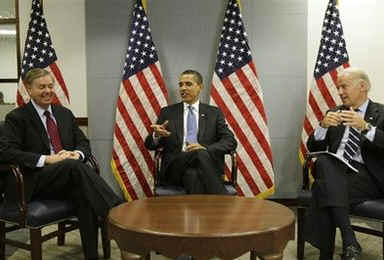 President-elect Barack Obama and Vice President-elect Joe Biden meet with Senator Lindsey Graham at Obama's Washington transition offices (right). Al-Qaeda leader Osama bin Laden releases a new voice recording directed at Israel and Obama. Obama calls Osama and Al-Qaeda the number one threat.
