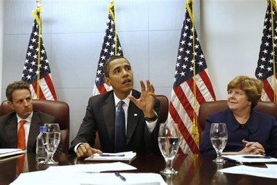 Barack Obama meets with his economic team in the Obama transition offices in Washington on January 5, 2009.