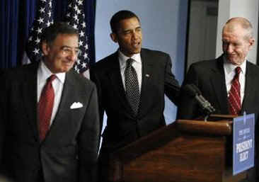 Barack Obama completes his top security team with the nominations of former Clinton Chief of Staff Leon Panetta as Director of the CIA, and retired Rear Admiral Dennis Blair as National Intelligence Director.