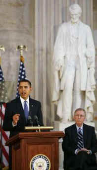 Two years after announcing candidacy in February 2007, on February 12, 2009 President Obama speaks on Lincoln's Birthday at the Capitol.