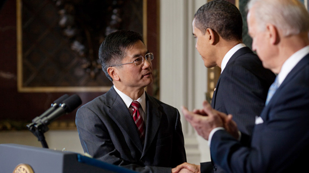 President Obama nominates former Washington Governor Gary Locke as Commerce Secretary after two other nominees decided to opt out of the their nomination. Obama and Biden made the announcement in the Eisenhower Executive Building.