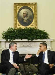 President Obama meets with British Prime Minister Gordon Brown in the Oval Office of the White House on March 3, 2009.