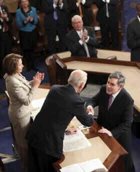 UK Prime Minister Gordon Brown addresses a joint Session of the US Congress at Capitol Hill in Washington, DC on March 4, 2009.