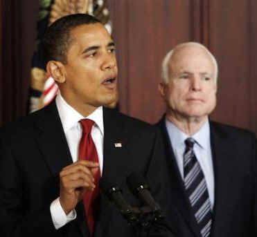 President Obama holds a press conference with Senator John McCain and other Senators to announce a plan for government reform to reduce wasteful spending which accounts for billions of dollars every year.