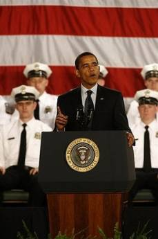 President Barack Obama speaks to the 114th Recruit Class of the Columbus Police Department at the Aladdin Shrine Center