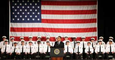 President Barack Obama speaks to the 114th Recruit Class of the Columbus Police Department at the Aladdin Shrine Center in Columbus, Ohio on March 6, 2009. The recruits are an early result of Obama's economic and employment stimulus initiatives.