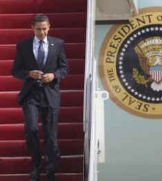 President Obama returns to Washington on Air Force One after visiting police recruits in Columbus, Ohio.
