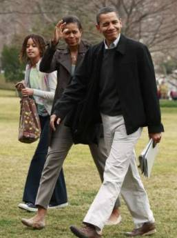 President Barack Obama, First Lady Michelle Obama and Malia Obama return from an overnight stay at Camp David.