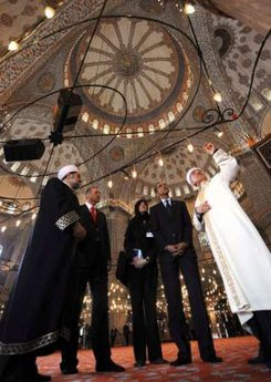 President Barack Obama and Turkish PM Erdogan tour the Ottoman era Sultanahmet Mosque known as the Blue Mosque.