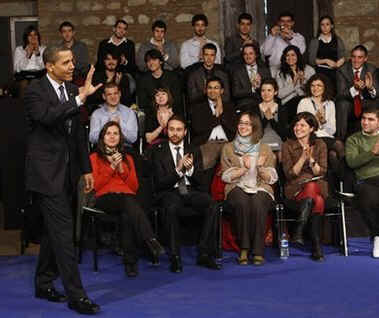 President Barack Obama holds a town hall style meeting with students at the Tophane Cultural center in Istanbul, Turkey.