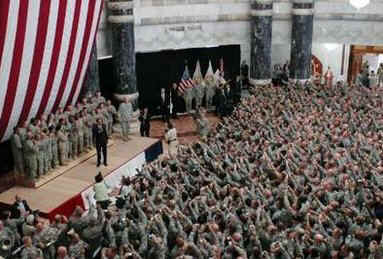 resident Obama speaks to US military personnel at Camp Victory in Baghdad Iraq on April 7, 2009.