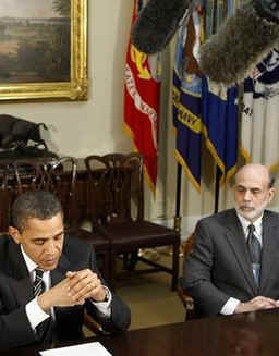 President Barack Obama meets in the Roosevelt Room of the White House with Federal reserve Chairman Ben Bernanke,  Treasury Secretary Tim Geithner and other economic leaders.