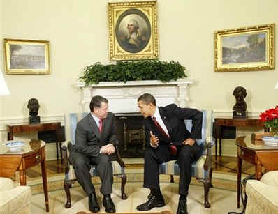 US President Barack Obama meets with Jordan's King Abdullah II at the White House.