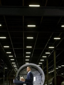 President Barack Obama speaks at the Trinity Structural Towers Manufacturing Plant in Newton, Iowa on Earth Day, April 22, 2009.