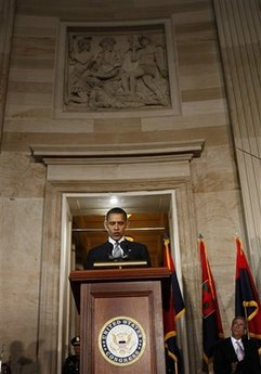 President Barack Obama speaks at the Holocaust Days of Remembrance in the Rotunda of the Capitol.