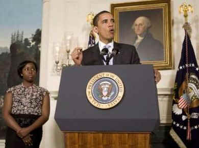President Barack Obama remarks on higher education in the Diplomatic Reception Room of the White House on April 24, 2009. President Obama was introduced by a University of Maryland student who was joined on stage by her mother.