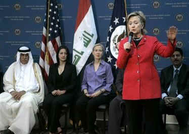 Secretary Hillary Clinton speaks to Iraqi citizens and US Embassy staff in Baghdad before leaving Iraq.