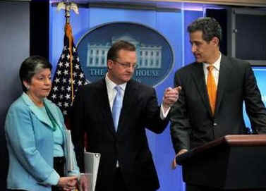 Dr. Richard Besser, the Acting Director for the Centers for Disease Control and Prevention (CDC), Secretary of Homeland Security Janet Napolitano, and Press Secretary Robert Gibbs at a rare Sunday press conference.