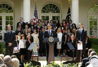 President Barack Obama speaks at a Teacher of the Year ceremony in the Rose Garden of the White House on April 28, 2009.