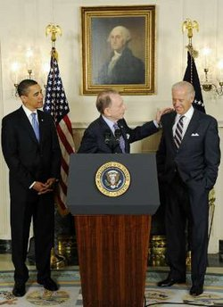 President Barack Obama and Vice President Joe Biden welcome Senator Arlen Specter to the Democratic Party.