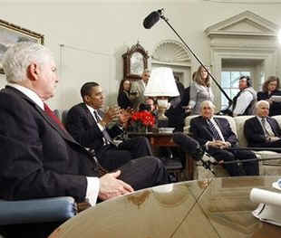 President Barack Obama meets with the Congressional Armed Services leadership in the Oval Office of the White House.