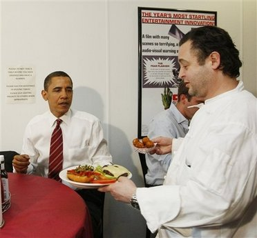 President Barack Obama and Vice President Joe Biden have lunch at Ray's Hell Burger across the Potomac in Arlington, Virginia.