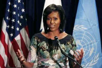 First Lady Michelle Obama speaks to employees of the United States Mission to the United Nations in New York on May 5, 2009.
