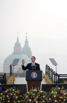 Saint Nicholas Church sets the backdrop for Obama's Prague speech. President Barack Obama delivers a speech to an estimated 25,000 people in Hradcanske Square in the Old City part of Prague, the capital of the Czech Republic.