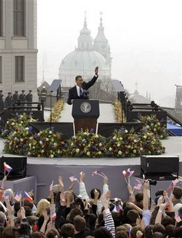 President Barack Obama delivers a speech to an estimated 25,000 people in Hradcanske Square in the Old City part of Prague, the capital of the Czech Republic.