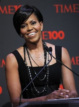 First Lady Michelle Obama delivers the opening remarks at the Time 100 Gala in New York City on May 5, 2009.