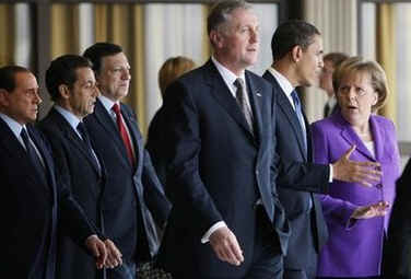 The European Union leaders and President Obama met for a group photo then broke off for bilateral meetings.