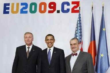 President Barack Obama with Czech leaders after he arrives at the European Union and United States (EU-US) Summit in Prague, Czech Republic.
