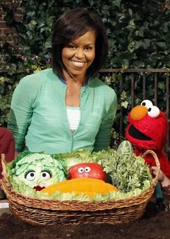 First Lady Michelle Obama taped a public service announcement on the set of Sesame Street to promote Healthy Habits For Life.