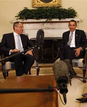 President Barack Obama, Secretary of State Hillary Clinton, and National Security Advisor James Jones talk to the media after meeting with Russian Foreign Minister Sergey Lavrov in the Oval Office of the White House on May 7, 2009.