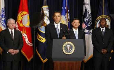 President Barack Obama speaks at the Eisenhower Executive Office Building with Defense Secretary Robert Gates and Veterans Affairs Secretary Eric Shinseki about improving Veterans health care.