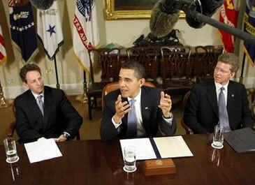 President Barack Obama meets in the Roosevelt Room of the White House with Treasury Secretary Tim Geithner and Housing and Urban Development Secretary Shaun Donovan to discuss the housing industry and the impact of low interest rates.