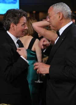Timothy Geithner and Collin Powell  join press correspondents, the Washington elite, and Hollywood celebrities at the annual White House Correspondents Association Dinner at the Washington Hilton on May 9, 2009.