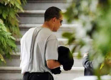 President Barack Obama returns to the White House after a private basketball excursion on May 9, 2009.