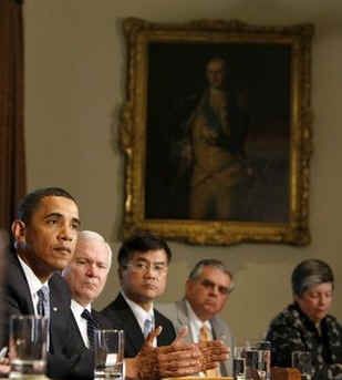 President Obama remarks to the media after a Cabinet Meeting held in the Cabinet Room of the White House on May 1, 2009.