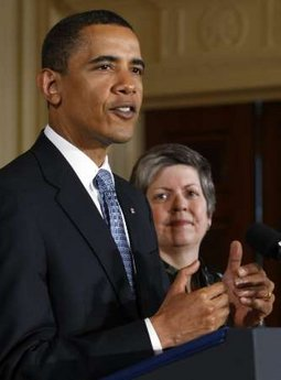 President Barack Obama and Homeland Security Secretary Janet Napolitano attend a naturalization ceremony.