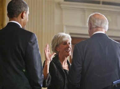 Vice President Joe Biden conducted the swearing in of Health and Human Services Secretary Kathleen Sebelius and Commerce Secretary Gary Locke.