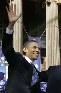 Obama has often posed or spoken in front of two pillar or columns. These pillars appear as the number 11. Obama had several twin Greek columns at the Democratic National Convention in Denver, Colorado on August 28, 2008.